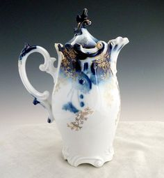 Antique porcelain chocolate pot cobalt and gold RS Prussia