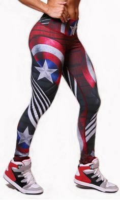 Exit 75 - Captain America Leggings – His and Hers Athletics Leggings Outfit Fall, Best Leggings, Leggings Fashion, Captain America Leggings, Superhero Leggings, Gym Clothes Women, Seamless Underwear, Moda Fitness, Cool Fabric