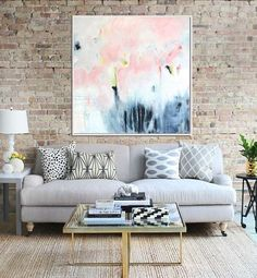 Lienzo pintura abstracta, arte contemporáneo de arte abstracto, Arte Original, arte de acrílico, color de rosa y gris abstracto, decoración de la pared, arte de pared