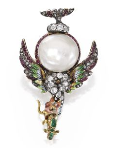 Renaissance-Revival 18 Karat Gold, Natural Pearl, Diamond, Colored Stone and Enamel Pendant-Brooch  Designed as a griffin that has captured a salamander.