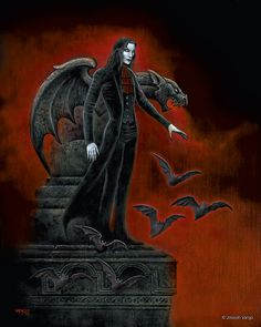 Enter the realm of gothic fantasy artist Joseph Vargo, a chilling, mist-shrouded world of forlorn ghosts, brooding vampires, living gargoyles and other creatures of the night. Dark Gothic Art, Gothic Artwork, Gothic Fantasy Art, Fantasy Kunst, Dark Art, Gothic Vampire, Vampire Art, Arte Horror, Horror Art