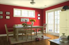 For the dininging room, like a red. This is caliente red from Benjamin Moore.