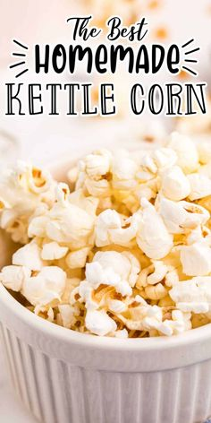 Homemade Kettle Corn Recipe. You will feel like you are at a fair when you smell this Homemade Kettle Corn popping! This recipe is the perfect combination of salty and sweet! Popcorn Recipes, Candy Recipes, Lunch Recipes, Easy Dinner Recipes, Appetizer Recipes, Holiday Recipes, Breakfast Recipes, Dessert Recipes, Homemade Kettle Corn