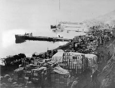 Unidentified photographer  Military supplies piled up on Anzac Cove, Gallipoli, May 1915  Reference number: 1/2-066281-F  Original negative  Photographic Archive, Alexander Turnbull Library    See a zoomable image on our Timeframes website     Survival can be your next tirp in the wild(military backpacks|military supplies|tactical backpacks|make your kit|gear camping|gear hiking|gear for camping|gear survival|gear for survival|building shelter|the survival kit|survival tool|survival kit fo