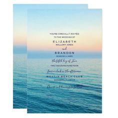 Sunset Skies Beach Ocean Wedding Invitation Customizable Invitations #beach #summer #wedding #invitation