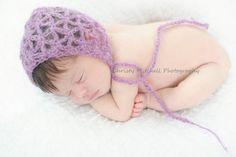 (4) Name: 'Crocheting : Mohair Bonnet for Newborn PATTERN
