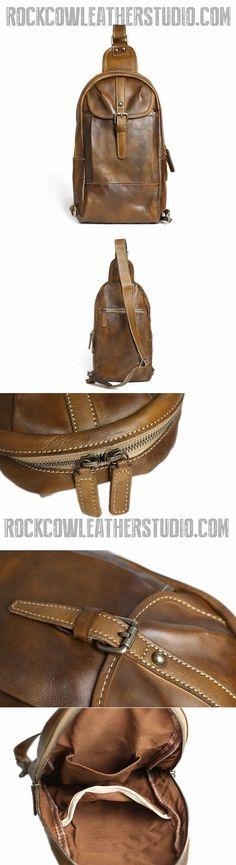 Handmade Chest Bag, Vintage Full Grain Leather Backpack, Men's Leather Sling Shoulder Bag 14132