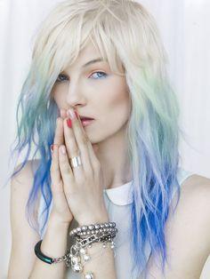 White blonde, light to dark blue