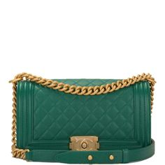 1c06b75e2c84 Chanel Green Medium Boy bag of caviar leather with antique gold tone  hardware, new or never worn condition in original box with tags at Madison  Avenue ...