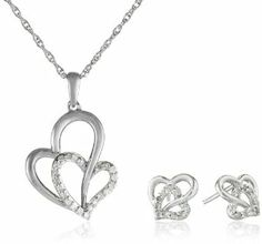 Sterling Silver Diamond-Accented Double Heart Pendant Necklace and Earrings Jewelry Set