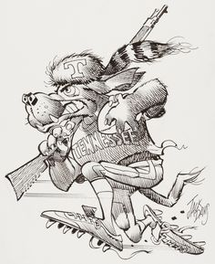Jack Davis Tennessee Volunteers College Football Illustration Original Art (Hot Shots, c. Part of a - Available at Sunday Internet Comics Auction. Cartoon Sketches, Cartoon Art, Jack Davis, Mascot Design, Vintage Football, Tennessee Volunteers, Owl Art, Sports Art, Cool Cartoons