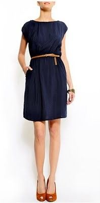 navy, cap sleeve dress with skinny belt & a gathered bodice. probably from shop.mango.com