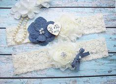 Rustic Personalized Denim Wedding Garter by smelltheroseboutique