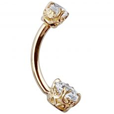 Other Wedding Jewelry Jewelry & Watches Enthusiastic 14k Yellow Gold Triple Plated Simulated Diamond Filigree Belly Button Navel Ring Fine Quality