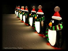 Blowmold penguins line the driveway.