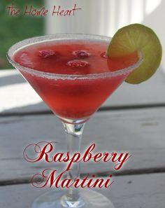 Raspberry Martini: Muddled raspberries, vodka, lemon juice, ginger ale