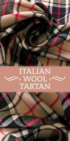 Italian Stretch Wool Tartan Plaid in Tan, Red, and Black (Made in Italy - 91% Wool)