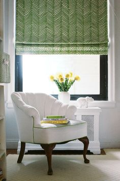 We the love the green Quadrille fabric on Bassett McKay's bedroom shades (Photography: Fred Castleberry)
