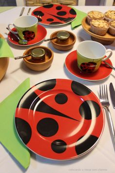 ladybug table setting for tea