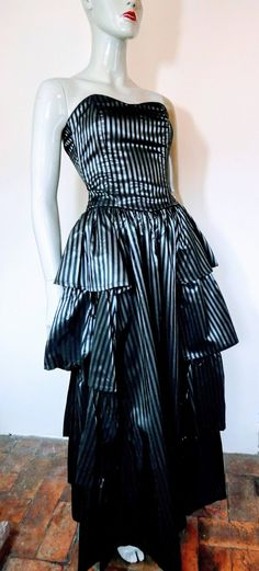 Laura Ashley Dress, Black Striped, Size 12 Laura Ashley 1980s, Bustier Top, Striped Fabrics, Etsy Vintage, Black Stripes, Dress Black, Archive, Size 12, Trending Outfits