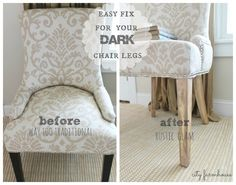 Before & After-change the look of your chair legs-A Rustic Glam Makeover @Rachel Gladis Farmhouse