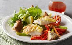 Fisk med bagt ost og croutoner
