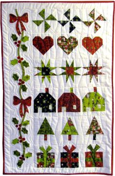 HOLIDAY MAGIC | New Christmas quilt pattern by Monica Curry. Simple foundation piecing and fusible applique make up this an easy-to-make wall quilt.
