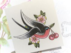 Sailor Jerry Style Swallow and cherry vintage tattoo handmade birthday ...