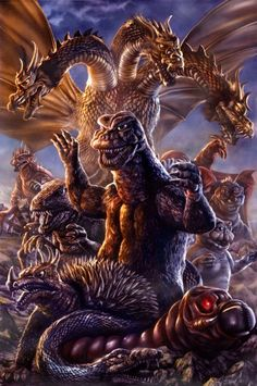 fantastic Destroy All Monsters artwork - Chris Joestar Godzilla Source You are in the right place ab All Godzilla Monsters, Cool Monsters, Horror Monsters, Classic Monsters, Cartoon Monsters, Cartoon Art, Giant Monster Movies, Godzilla Wallpaper, Japanese Monster
