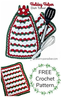 Free Crochet Pattern: Holiday Helper Dish Towel | Pattern Paradise