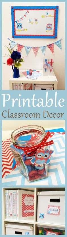 Printable Red & Blue Owl Themed Classroom Decor by teachingtalking.com