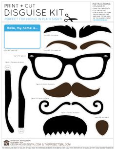 Printable Mustache free printable. Great for magnetic me