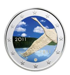 """N♡T.Finnland 2 Euro """"200 Jahre Nationalbank"""" unc farbig in KAPSEL 2011"""