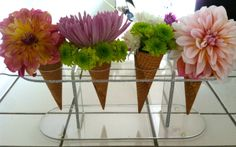diy - ice cream cone floral arrangement