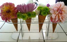 diy - ice cream cone floral arrangement