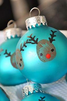 thumbprint reindeer ball ornaments