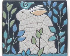 Rabbit,bunny,ceramic Tile,3x3 raku fired art tile,home decor,handmade