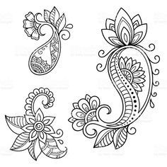 Set of Mehndi flower pattern for Henna drawing and tattoo. Decoration in ethnic oriental, Indian style. Henna Patterns, Zentangle Patterns, Flower Patterns, Henna Tattoo Designs, Mehndi Designs, Henna Tattoos, Paisley Tattoos, Arte Mehndi, Dibujos Zentangle Art