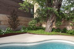 """In this artful pool-and-garden environment by Plant Architect, the horizontal fencing """"fades"""" upward. Steel Edging, Diy Fence, Modern Fence, Pool Decks, Iron Gates, Curb Appeal, Landscape Design, Environment, Home And Garden"""