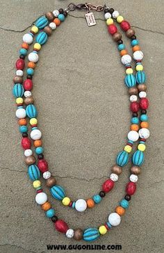 Turquoise, Red and Natural Short Double Strand Necklace