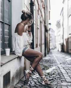 WHITE BLOUSE AND LACE-UP ESPADRILLES