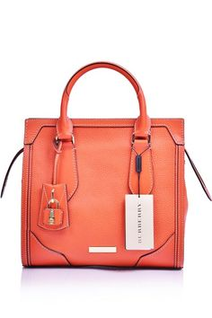 ab12aaa388e3 -Burberry- Honeywood Classic Grainy Leather Tote Small Tangerine  Burberry  Handbags  Burberry Handbags