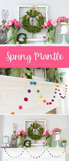 DIY Spring Mantle decor. Love that rainbow felt ball garland!