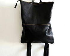 Leather Backpack ,black leather, Laptop bag
