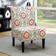 Furniture of America Bessia Modern Patterned Accent Chair (Orange Floral Pattern), Multi (Fabric) Accent Chairs For Living Room, Living Room Furniture, Upholstered Accent Chairs, Patterned Chair, Chair And A Half, Chair Types, Black Furniture, Modern Fabric, Chair Pads
