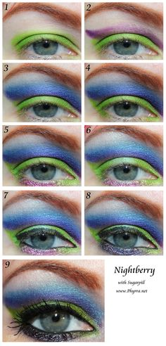 Sugarpill Nightberry Tutorial. Click through to see how to do it! #sugarpill #cutcrease #chartreuse #purple #blue #green #beauty #makeup #crueltyfree