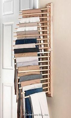 Wall Mount Trouser Pant Closet Organization Rack from Collections Etc. Wandhalterung Hosenhose Schrank Organisation Rack von Collections Etc. Master Closet, Closet Bedroom, Closet Space, Closet Wall, Hanging Closet, Bathroom Closet, Closet Doors, Diy Bedroom, Closet Storage