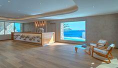 Lobby Area Marina Resort, Mykonos Hotels, Resort Villa, Hotels And Resorts, Dining Table, Luxury, Villas, Furniture, Santa