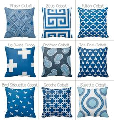 Cobalt Blue and White Zippered Throw Pillow Cover by Primal Vogue™ - Various Sizes 14x14 16x16 18x18 20x20 - Geometric, Greek Key, Paisley