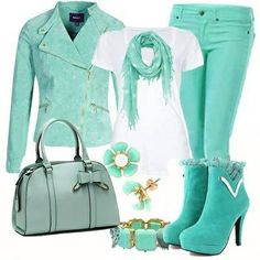 Cute teal boots ...entire look i love and would totally rock!